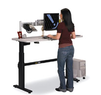A standing workstation can help you!